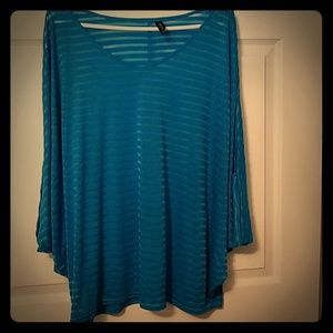 Lane Bryant Sheer Blue Shirt Top 18/20